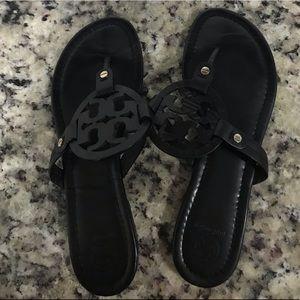 Women's 9.5 Black Tory Burch Miller Sandals